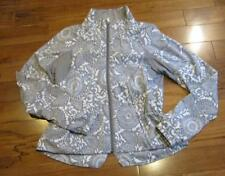 LULULEMON TRAVEL TO TRACK JACKET IN BEACHY FLORAL FOSSIL AND WHITE SIZE 10