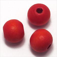 Lot de 20 Perles Rondes en Bois 12mm Rouge