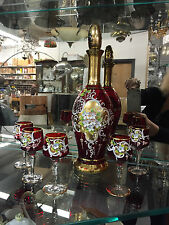 Vintage Venetian Red Art Glass Decanter Set with Applied Flowers