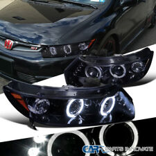 Glossy Piano Black Fit Honda 2006-2011 Civic 2Dr Tinted LED Projector Headlights