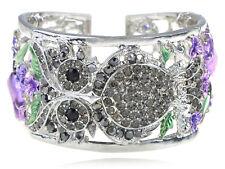 Silvery Crystal Rhinestone Owl Purple Rose Flower Fashion Bracelet Bangle Cuff