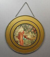 Antique Victorian Chimney Flue Cover Gold Glass Litho Print Women Grecian Scene