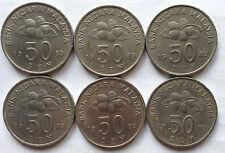 Malaysia 50 sen 1989 coin 6 pcs