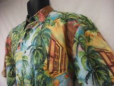Mens Saks Fifth Avenue Floral Hawaiian Camp Shirt sz M MULTICOLOR cotton