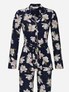 RINGELLA edler Damen Langarm KnopfSchlafanzug Größe L/44 Pyjama blau floral