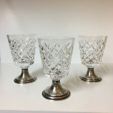 HAWKES CRYSTAL ~SET OF 3 STERLING FOOTED WHISKEY GLASSES ~ELEGANT FOR COCKTAIL!