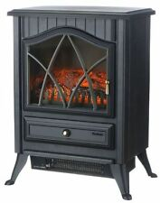 1850-Watt Log Burning Flame Effect Electric Stove Heater Fireplace Fan