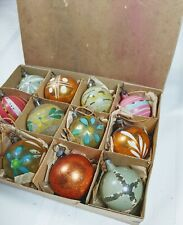 New ListingEarly German Feather Tree Ornaments Blown Glass Painted Floral Lauscha Box Rare