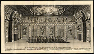 Large Antique Print-THE HAGUE-TREVESZAAL-BINNENHOF-CABINET-Riemer-Boitet-1730