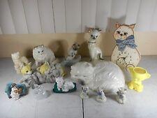 Vtg Cat Figurines Ceramic,Porcelain Siamese & Angora, Clock Cat Lot & More Lot