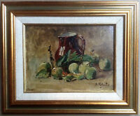 IMPRESSIONIST PAINTING STYLE PAUL CEZANNE STILL LIFE PITCHER  APPLES OIL SIGNED