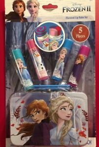 Frozen II 4 Flavored Lip Balms Tin Carry Case Assorted Flavors Anna Elsa Olaf