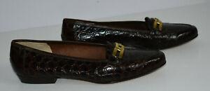 Salvatore Ferragamo Size 8.5 B Brown Logo Buckle Low Heel Croc Pumps Shoes Italy