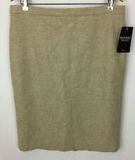 Pure Collection Warm Stone Beige 100% Wool Pencil Skirt Size US 12 Uk 16 New