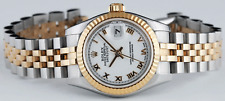 ROLEX Ladies White Roman 18kt Gold & SS DateJust 179173 SANT BLANC