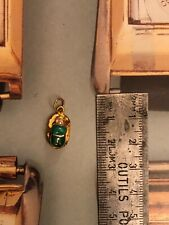 18ct Gold Pendant Turquoise Scarab Rare Egyptian Beetle Amulet 2g Superb Item!