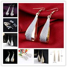 NewSilver/Gold Crystal Scrub Water Drop Hook Dangle Earrings Fashion Women Party