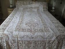 Antique Fine Linen Lace & Handwork Tablecloth & Napkins set 103x65