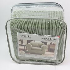 sure fit Stretch Stripe 2 Piece Chair Slipcover Box Cushion sage