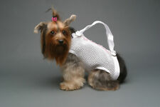 White pink beads open weave pet small dog carrier harness sling puppy purse