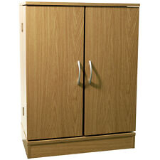 COLUMBUS - Double Door CD DVD Media Storage Cabinet - Oak MS7033