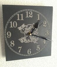 Slate Wall Clock Butterfly Design - Laser Engraved Face - Quartz Movement