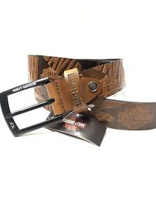 Men's Brown Harley-Davidson Leather Belt Size 34 To 38 Waist(uk01141)Classic