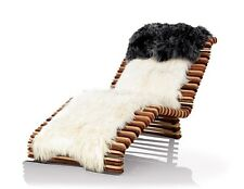 "65"" L Chaise exotic polished brown white hardwood long hair hide pad spectacular"