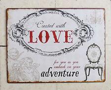 GRANDE PLAQUE DECORATIVE EN TÔLE - DECOR BAROQUE - LOVE ADVENTURE