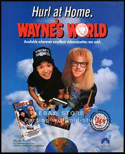 WAYNE'S WORLD__Original 1992 Print AD movie video promo__MIKE MYERS_DANA CARVEY