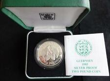 1985 SILVER PROOF GUERNSEY £2 CROWN COIN BOX + COA THE 40th ANN OF LIBERATION