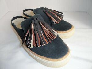 Toms Tassel Mule Black Suede Slip-on Shoe Women's Casual Open Back Sz9.5W