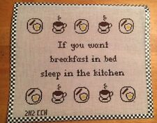 Handpainted Needlepoint Canvas Saying-If You Want Breakfast in Bed
