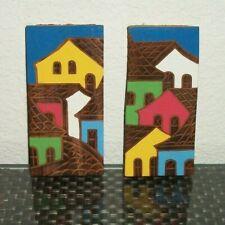 2 Folk Art Hand Painted Houses on Wood Wall Art Décor Signed Valmir BA-86