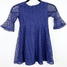 Blueberi Boulevard Blue Lace Overlay Size 5 Girls Kids Dress