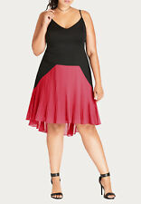 City Chic Pleated Citron Dress Black 22