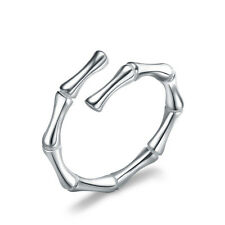 Simple Personality For Women Vintage Silver Plated  Opening Bamboo Rings