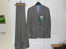 Burtons Slim Fit Grey Window-Pane Check Suit. J = 38R, T = W34R. WORN ONCE!