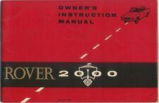 Rover 2000 P6 original Owners Instruction Manual (Handbook) 1964  No. TP/333/C