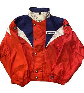 DESCENTE Nylon Jacket Coat Mens Medium Patches Brighton Ski Resort Windbreaker