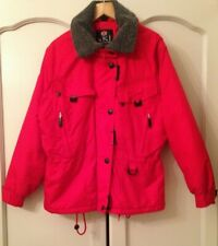 TRESPASS Red Jacket Faux Fur Collar Windproof Waterproof Size S