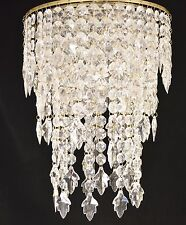 CHANDELIER STYLE  LIGHT FITTING ANTIQUE BRASS CHAIN ACRYLIC CRYSTAL