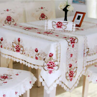 Vintage Embroidered Tablecloth Doilies Dining Table Runner Home Table Cover Mats