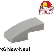 Lego - 6x Slope curved pente courbe 1x2 gris/light bluish gray 11477 NEUF