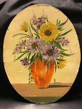 Antique Oval Oil Painting Expressionism Van Gogh Inspired Florals Signed old Art