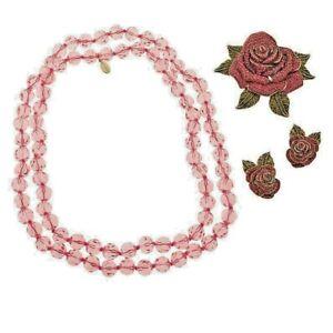 HEIDI DAUS CRYSTAL ROSE PIN, EARRINGS AND NECKLACE SET - RETAIL $166 PINK