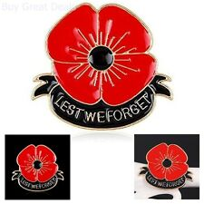 Lest We Forget Enamel Poppy Brooch Pin Badge Golden Flower Remembrance Day
