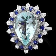 14 Ct Wht Gold Aquamarine/Sapphire/Diamond Ring. AIGL Appraised, Report Included