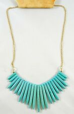 "New 18"" Gold Chain Necklace with Turquise Colored Stone Spikes NWT #N2461"
