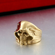 Sons of Anarchy Grim Reaper Gothic Skull Gold Plated GP Harley Men Sz 7-13 Ring